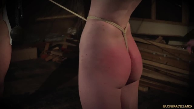 BDSM Punishing two Girls in the same Time using Leather Whip on Tits
