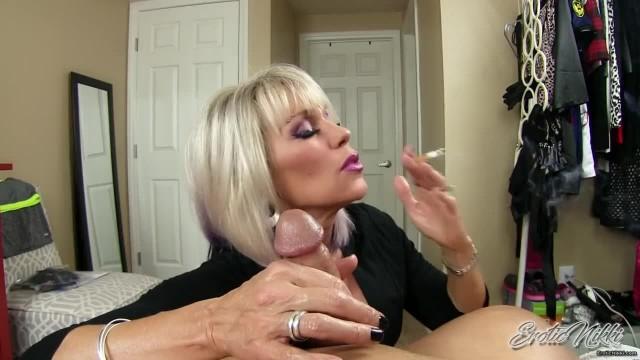 Erotic Nikki - Mature Sister in Law Smokes while Giving POV Cuckold Handjob