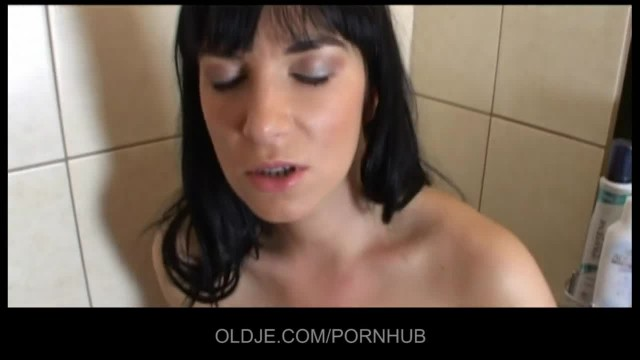 Older Plumber Fucks a Young Brunette in her Bath