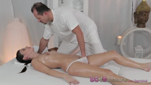 Love Creampie Adorable Petite Young Teen gets Internal Cum on Massage Table