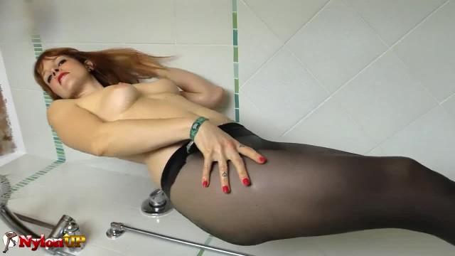 Redhead in Pantyhose Masturbates in the Shower (irina Vega)