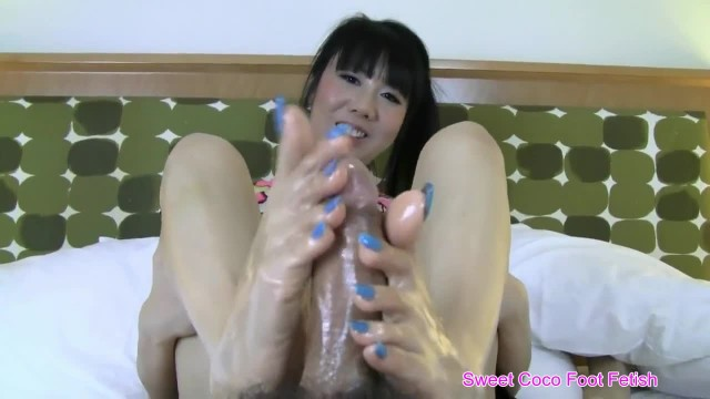 Sweet Coco - Blue Nails Footjob on the Bed