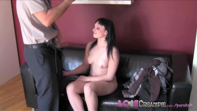 Love Creampie Cute Brunette Amateur Fucked Hard in Casting Video