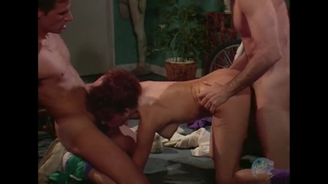 Vintage Threesome with Big Titty Redhead in Gym