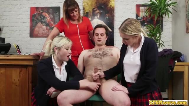 Nasty Schoolgirls Teasing CFNM Cock