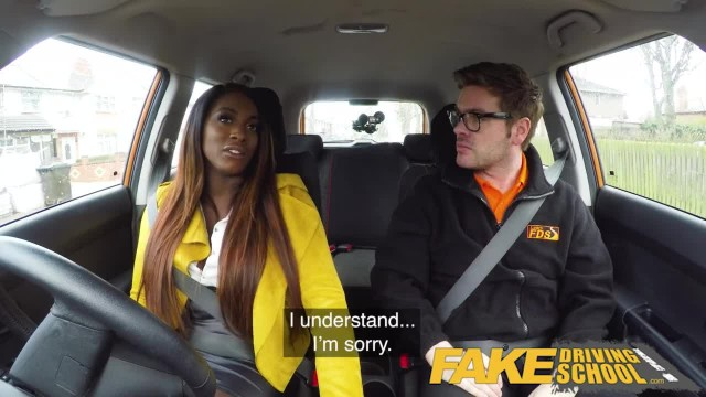 Fake Driving School Hot Ebony Jai James with Huge Tits can't Drive
