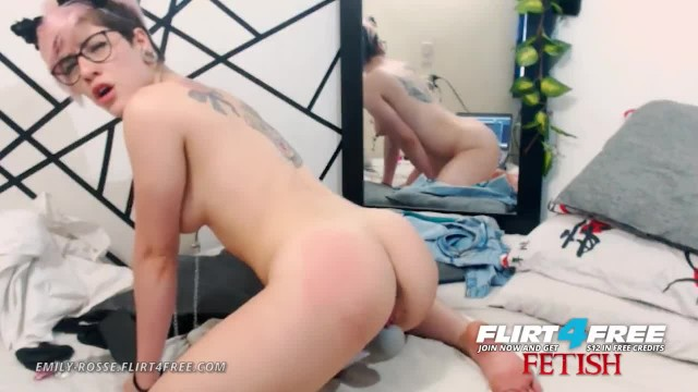 Emily Rosse on Flirt4Free Fetish - Coed with Nipple Clamps Hitachi's Pussy
