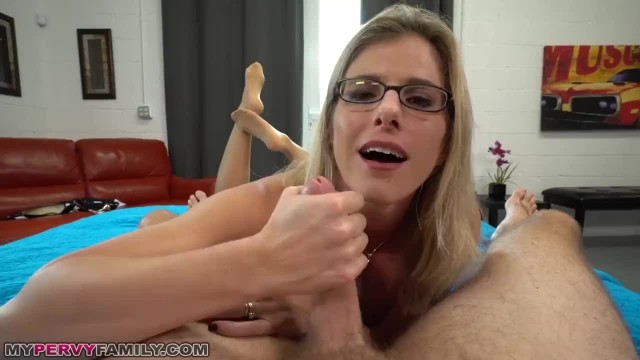 Busty Blonde Mom Let's Step-Son Creampie her Hairy Pussy to Relieve Stress!