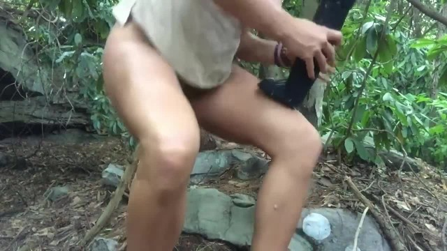 Hot Babe Fucks Massive Dildo in Woods then Launches HUGE Squirt!