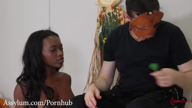 Anal Trick of Treating -- Ebony Cutie Eats Candy out of Ass (rough Anal)