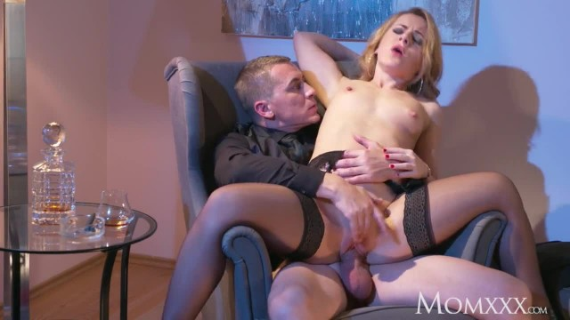 MOM MILF in Stockings and Heels gives Cigar Smoking Stud Gagging Blowjob