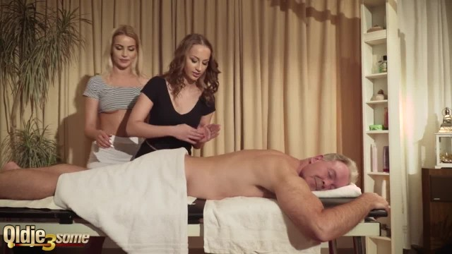 Old Man gets Oil Massage from two Beautiful Teen Girls and they Fuck him
