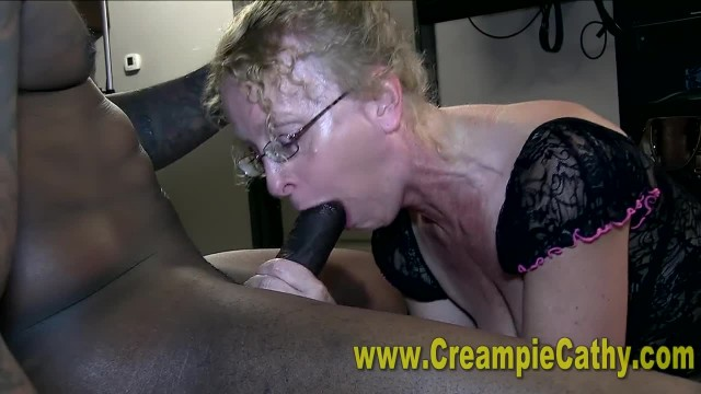 Sloppy Interracial Creampie for Mature Amateur
