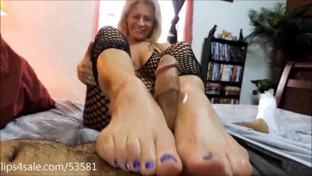Blonde MILF Giving a Hot Footjob