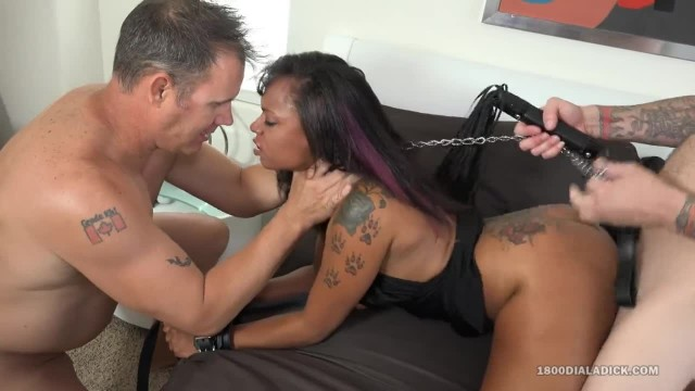 800DAD - Ebony Babe Dommed by two White Boys