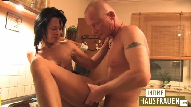Mature Brunette Fucked in the Kitchen