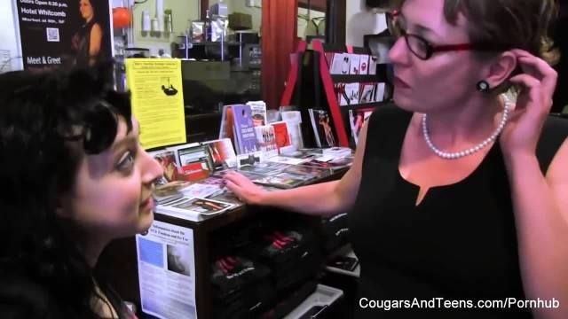MILF in Glasses Plays with her Stepdaughter's Pussy in the Shop