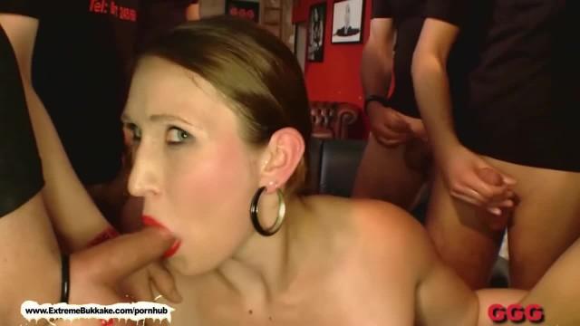 Naughty Mom can't Stop Sucking Cocks! - Extreme Bukkake