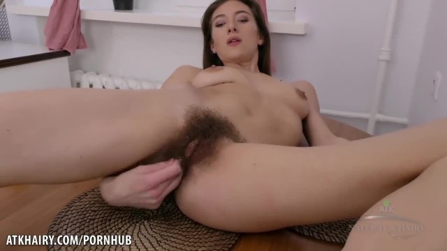 Lillian Fingers her Wet Hairy Pussy and Moans