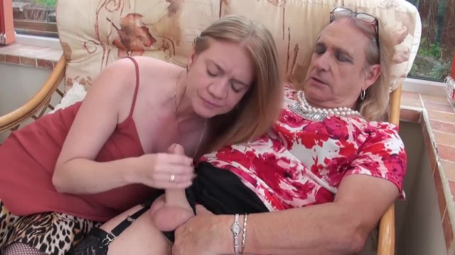 Cross Dresser Cathy Wank's and Cum's on Lily May's Tits then Licks it off
