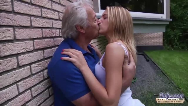 Grandpa Fucks Teen Fingers her Tight Pussy Fucks her Mouth with Cum Swallow