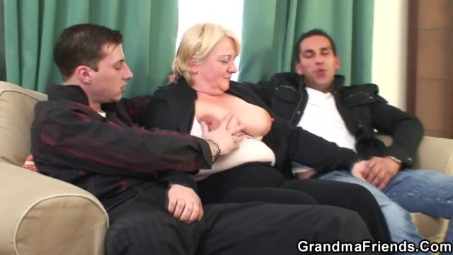 Boozed Granny gets Double Penetration