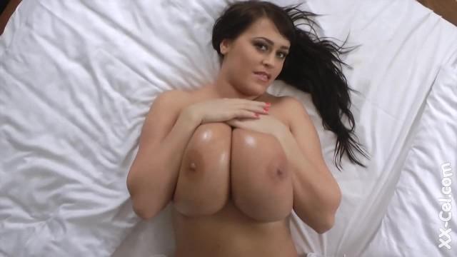 Brunette with Huge Amazing Boobs Teasing