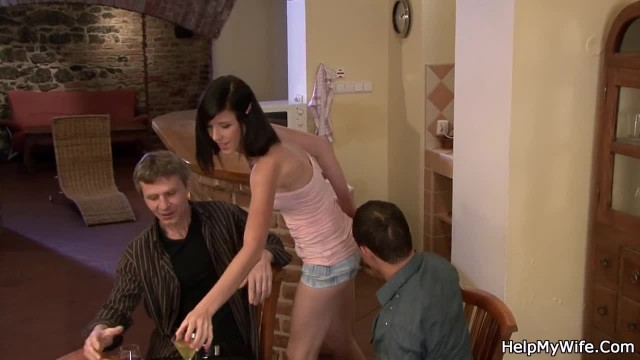 Husband Watching Guy Fucking his Wife from behind