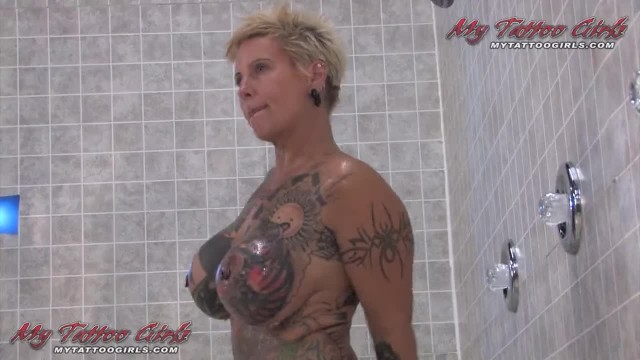 Blonde Black MILF Widow having some Shower Fun