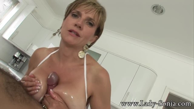 Lady Sonia Using Her Big Tits To Massage Cock