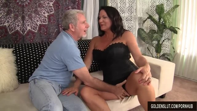 Slutty Big Boobed Grandma Takes Fat Dick