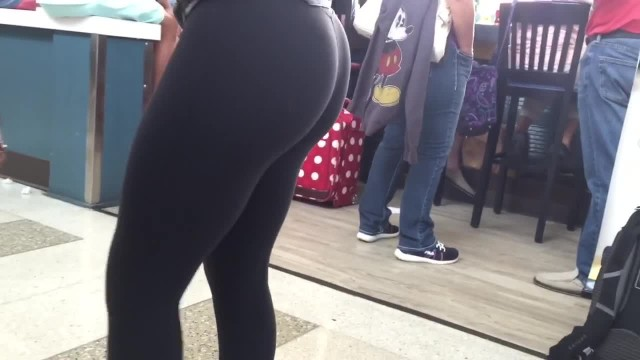 Sexy Teen in Leggings at the Airport