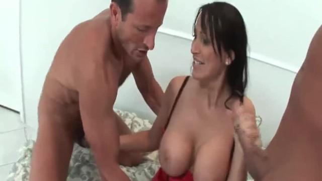 Amazing Big Boobed Whore Sucks two Cocks