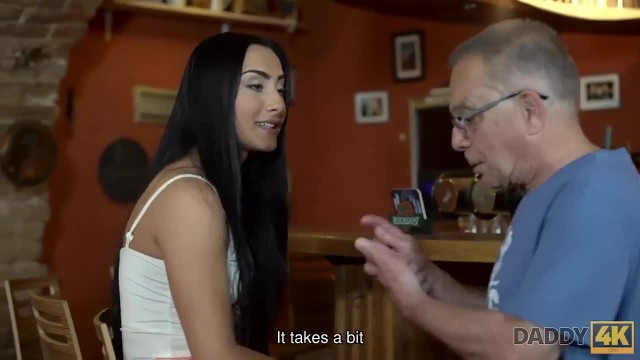 DADDY4K Chick and Senior have old and Young Act by the Bar Counter