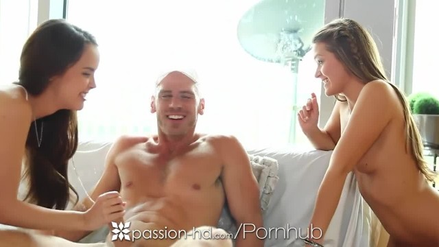 Passion-HD - Abby Cross gives her Man Threesome Surprise