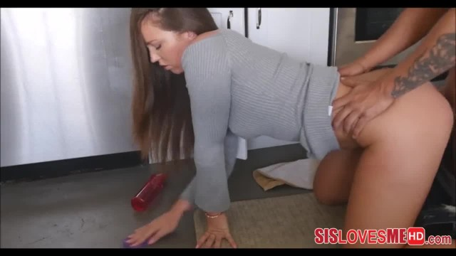 Fucking my Step Sister Maddy O'reilly from behind while she Cleans Kitchen