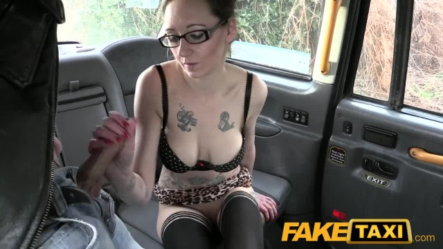 FakeTaxi Big Tits Babe with Tattoos and Sexy Glasses Cab Fucked