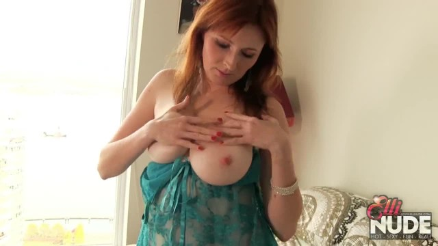 Smoking Hot Redhead in Blue Lace Masturbates for the Neighbours