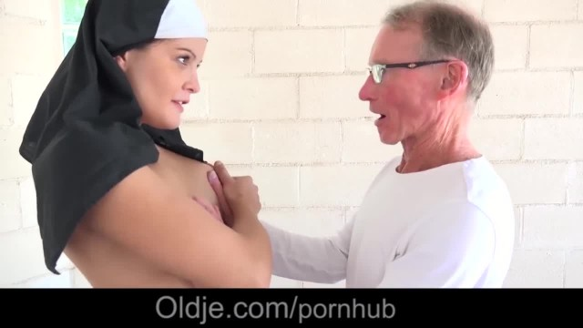 Old Man Life Story makes Young Nun Fornicate in a Chapel