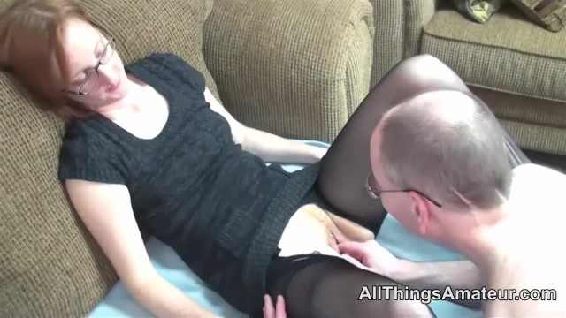 Mature Redhead Wearing Glasses Fucked in Stockings
