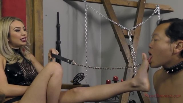 Mistress Kat Dior makes her Slave Kiss her Feet - Femdom