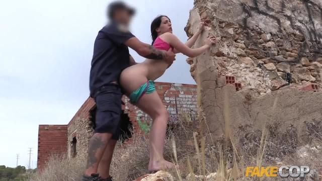 Fake Cop Peachy Arsed Spanish Babe Fucks Policeman