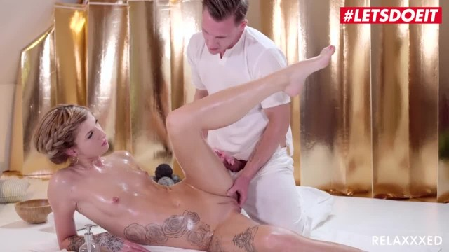 LETSDOEIT - Oiled Blondie gets so Horny that she Fucks the Massage Guy