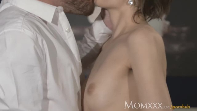 MOM her Hairy Pussy Pounded Wearing Open Crotch Lingerie for Valentine's