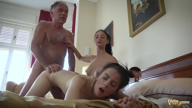 Old Young Porn Threesome with Petite Teen Pussy Fucked Hard and Orgasm