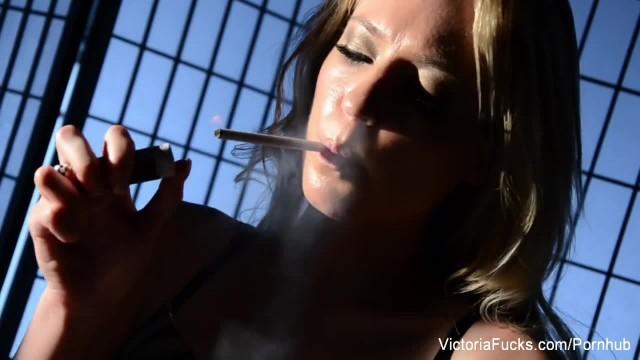 Victoria White Smokes a Cigarette & Masturbates
