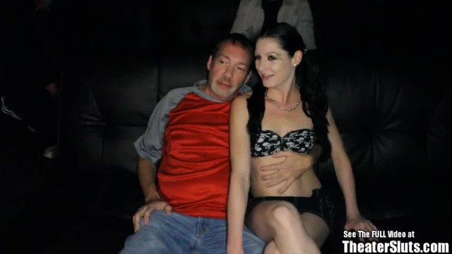 Skinny Pale Brunette Slut Gang Fuck in Porno Theater