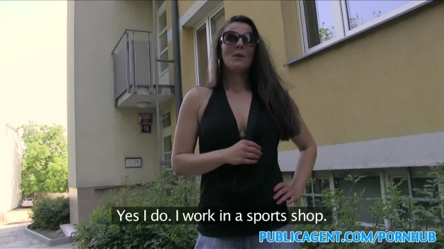 PublicAgent Hot Brunette MILF Fucks Stranger outside for Cash