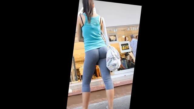Cute Girl in Tight see thru Leggings in Street