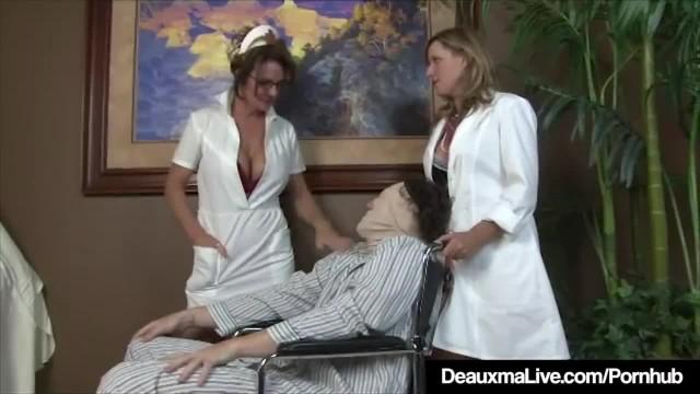 Busty Mature Nurse Deauxma gives Patient Sloppy Hot Handjob!